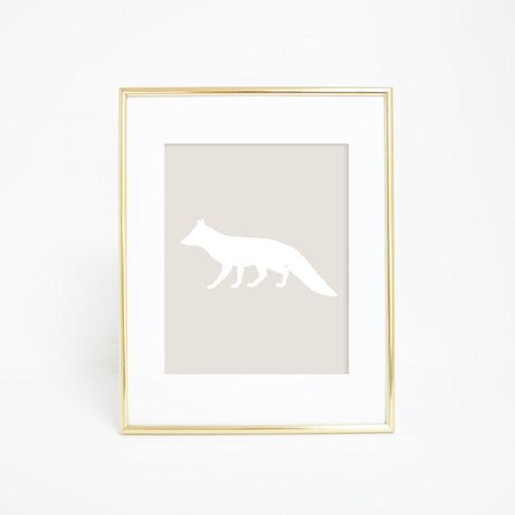 Kids Room Poster, Forest Animal, Beige Fox Print, Download Art, Digital Prints, Neutral Nursery, Nursery Animal Art, Nursery Decor