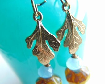 Gorgeous leaf earrings, nature inspired earrings, leaf earrings, green leaf earrings,Rusty, leaf jewelry, gift for Her