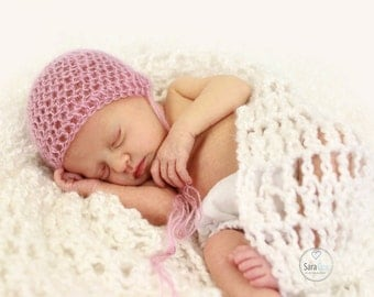 Newborn Vintage Crochet Bonnet Photo Prop