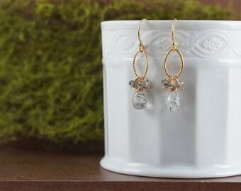 Rutilated Quartz Earrings 14K Gold Filled Earrings