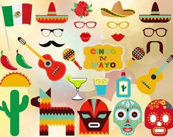 Printable  Cinco de Mayo Photo Booth Props, Mexican Fiesta Photo Booth Props, Mexican Party Printable, DIY, Mexican Celebration Props, 0209