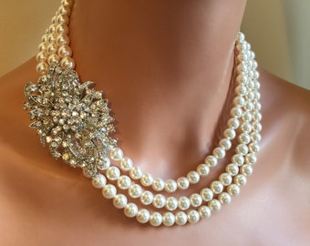 Ivory Pearl Necklace with Brooch wedding necklace and Earrings Set made using 3 strands Swarovski Pearls in Cream Ivory or choice of color