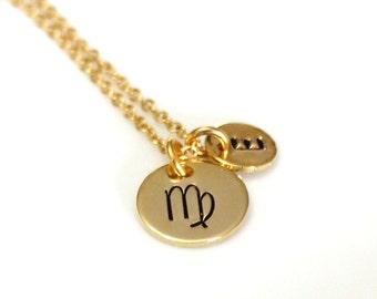 Virgo Necklace Sterling Silver, Virgo Zodiac Initial Necklace, Zodiac Jewelry, Astrological Jewelry, Virgo Personalized Necklace, Gift