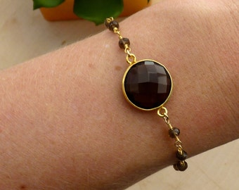Smokey Quartz Bracelet with Smokey Quartz Beading