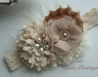 Ivory baby headband, Newborn headband, Baby headband, Newborn photo prop, Baptism headband, Baby hair bow