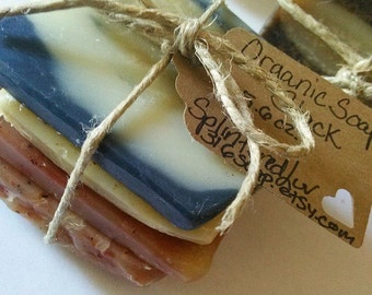 Organic Soap/Soap Sampler/Soap Odds And Ends/Soap Bundle/Soap Samples/Essential Oil Soap/4 Pack/Soap Stack/Rustic Gift/Handmade Soap