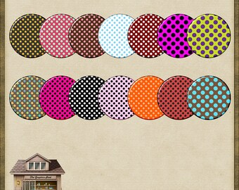 14 Brightly Coloured Circle Brads PNG *Instant Download*
