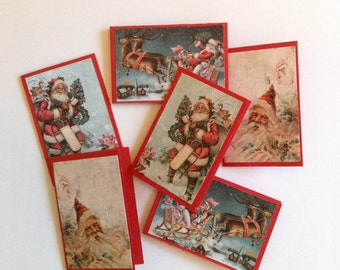 Santa cards, small cards, mini Christmas cards, gift cards, note cards, set of 6