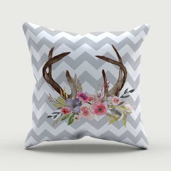 Decorative Pillows Deer : Throw Pillow Deer Pillow Grey Chevron Decorative Pillow