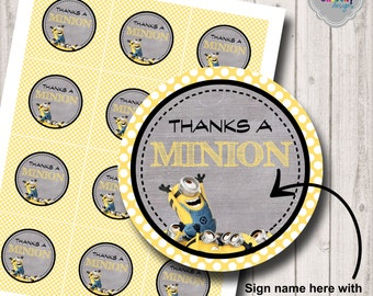 INSTANT DOWNLOAD - Thanks a Minion...Printable Tags- HT014 - thank you tags, cupcake toppers, gift tags