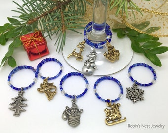 """Holiday Wine Charms, """"Christmas Eve"""" Handmade Wine Markers, Christmas Gift, Stocking Stuffer, Holiday Party, Winter"""