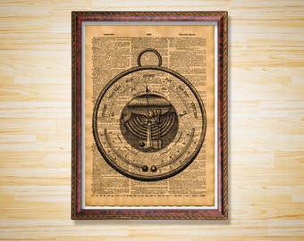 Vintage dictionary page Antique Barometer print Steampunk poster