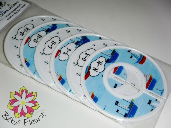 baby boys closet divides for organiziing space, n.-n. to 24 month (6 pcs)white blue boat anchor
