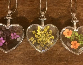 REAL dried flowers in resin heart necklace