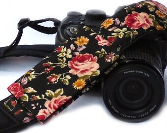 Roses camera strap with lens pocket. Canon Nikon Camera Strap. Photo Camera Accessories