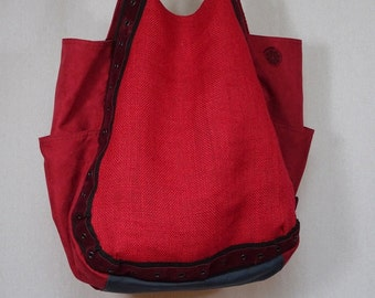 Large red bag jute canvas and suede
