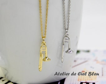 Trombone Necklace, Trombone Charm Necklace, Trombone Pendant Necklace, Miniature Trombone, Muscial Instrument Charm, Musician Gifts