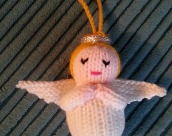 Handmade knitted Angel Christmas tree decoration