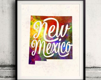 New Mexico - Map in watercolor - Fine Art Print Glicee Poster Decor Home Gift Illustration Wall Art USA Colorful - SKU 1754