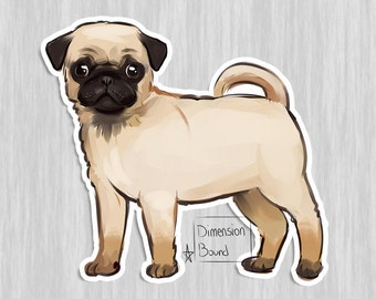 Aesthetic Sticker, Pug sticker dog sticker art notebook sticker, laptop stickers, Not just a sticker it's bark you can take with you