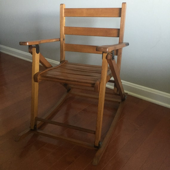 Vintage Wooden Childrens Folding Rocking Chair Combination Kids ...
