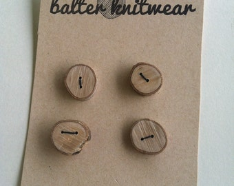 Wooden Buttons; Set of Four