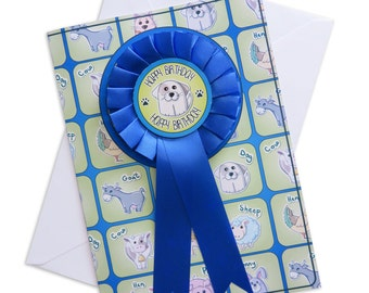 Personalised Pets Happy Birthday Rosette Card