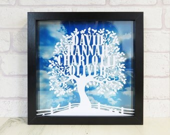 Personalised Day Scene Family TreeWhite Paper Cut Window Box Frame