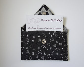 Business Card Holder / Gift Card Holder / Credit Card Holder / Mini Wallet / Card Organizer - Black and white fabric with silver accents