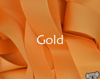 Gold Grosgrain Ribbon 3 Metre Cut, FREE Shipping, 64 Colours in 7 Widths Available