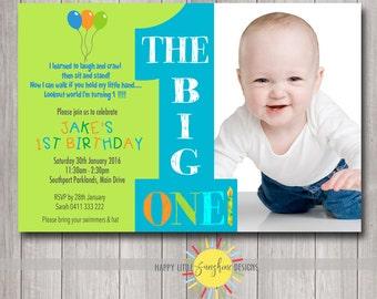 Custom Printable Boy Birthday Invitation 1st Birthday Photo Fun Bright Blue Green Orange