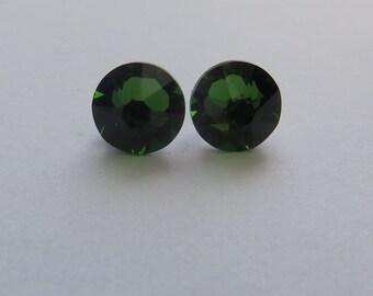 Fern green swarovski crystal stud earrings