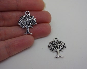 2 silver plated tree of life charms pendants DIY bracelets and necklaces jewellery making charms