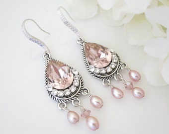 Vintage rose teardrop chandelier, Swarovski blush crystal and pearl bridal earring, Pink wedding earring