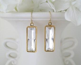Modern gold bridal earring, Swarovski crystal wedding earring, Crystal baguette earring