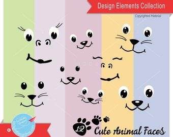Cute Animal Faces, Vector EPS PNG JPG, Animal Clip Art Image, Creature Faces, Scrapbooking Animal Expresions, Cat, Lion, Dog, Chimp, |C073