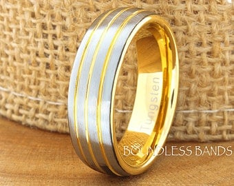Tungsten Wedding Ring Yellow Gold Plated Triple Grooved Tungsten Wedding Band Anniversary Ring Promise Ring Comfort Fit FREE Laser Engraving