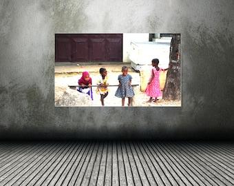 Color Photography, Print,  African Childern, Wall Art, Home decor,  African children photography, home decor, Art print, Zanzibar village