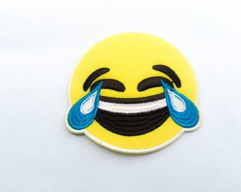 Smiley Face with Tear Iron on Patch(L1) - Happy Smiley Face Applique Embroidered Iron on Patch-Size 7.1 cm #T3