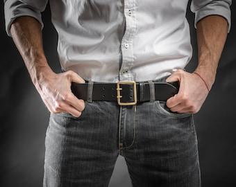 Leather belt with vintage buckle WW2 era Vegetable tanned leather belt Handcrafted Mens leather belt Black leather belt Men's gift