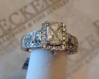 Vintage look 14k wg Trillion, Round & Baguette Diamond Engagement Ring .96 tw HIJ-SI1,2-I1, size 7.25