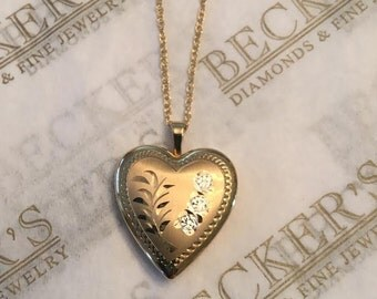 """Vintage 14k two tone Heart Shaped Locket Pendant with Satin Finish and Etched Flowers & Leaves on an 18"""" Chain"""