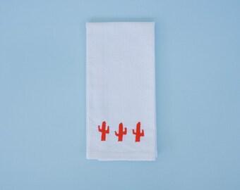 Bright Orange Cactus Hand Towel