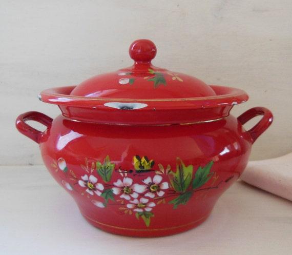 VINTAGE Red ENAMEL Soup TUREEN . Red Enamelware . Bird