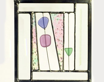 Sea Festival Contemporary Beveled Stained Glass Panel / Sun Catcher in Pastels