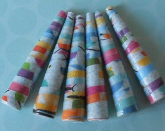 6 Handmade paper cone beads, exotic bird