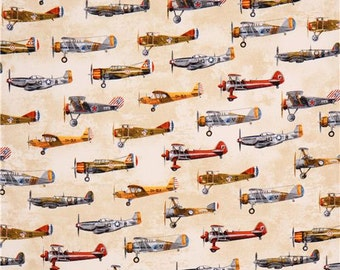Vintage airplane fabric Robert Kaufman Transportation Beige 14835 / Fat Quarter / 1 Yard Cut  / 1/2 Yard Cuts