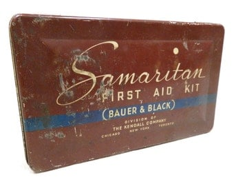 Vintage Metal Tin - Samaritan First Aid Kit - Collectible 1930s Medical