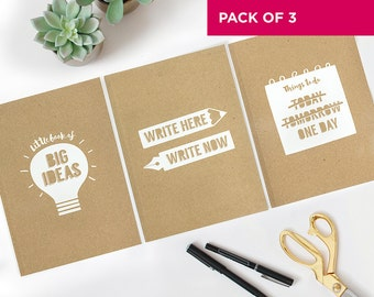 A5 Notebook Pack of 3 / A5 Notepad Pack of 3 / Kraft Notebooks
