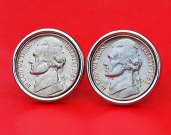 US 1938 ~ 2004 Jefferson Nickel BU Uncirculated Coin Silver Plated Cufflinks NEW